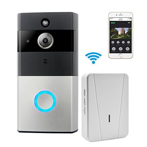 WIFI Video Doorbell, GERI Smart Doorbell 720P HD Security Camera with Chime and 8G Memory Storage, Real-Time Two-Way Talk and Video, Night Vision, PIR Motion Detection and App Control for IOS and Android