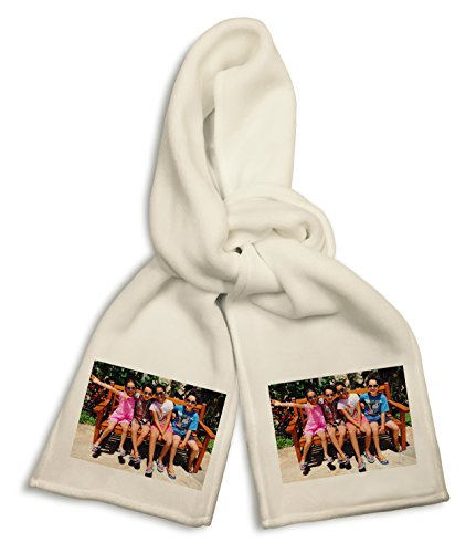 (Personalized Add Your Photo and Text White Polyester Scarf Custom Customizable Gift)