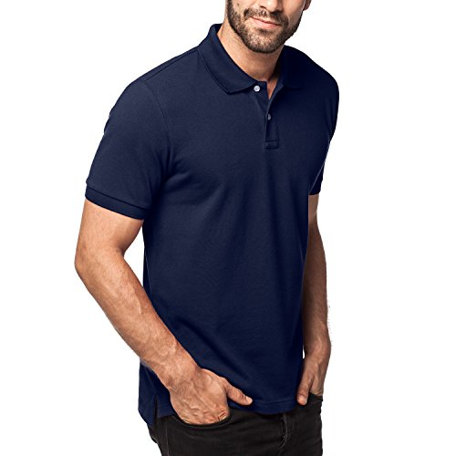 Lapasa Men's Polo Shirt Short Sleeve Solid Color Classic Fit Premium Cotton Pique Knit Mesh M19 (Medium, Navy) - Mesh Short Sleeve Polo Shirt
