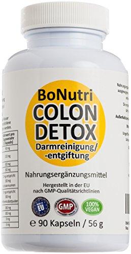 BoNutri Original Colon Detox Beste Qualität Darmreiniger Aktiv Darmreinigung Plus Darmsanierung Cleanse 90 Kapseln zur Begleitung einer Diät Entgiftung des Darms Monatsbedarf für Ihre Darmgesundheit Stoffwechsel Rückgaberecht
