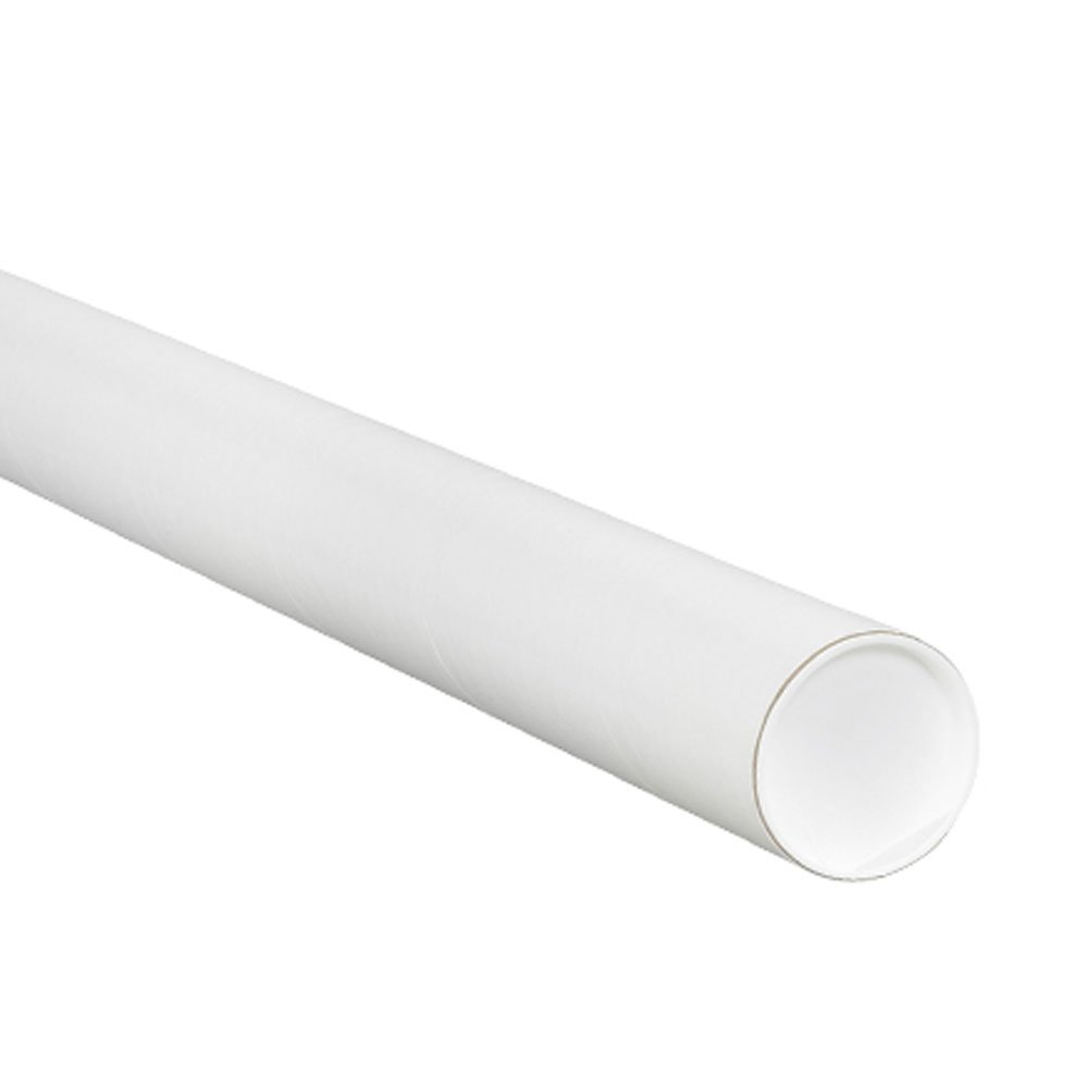 Aviditi P2012W Mailing Tubes with Caps, 2'' x 12'', White (Pack of 50) by Aviditi