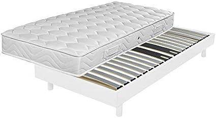 Ebac Literie – Somier + Patas + colchón Blanco DecoKit 90 x ...