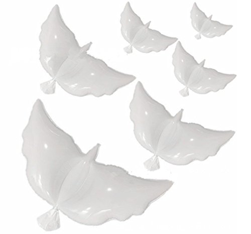 12pcs Huge Dove Helium Balloons for Weddings, NALAKUVARA White Peace Flying Pigeon Eco-friendly Biodegradable ()