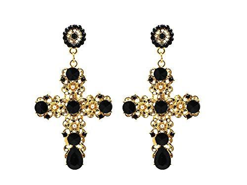 ailov Golden Cross Earrings Large Religious Catholic Earrings Costume High Fashion Faith Jewelry (Gold+Black)