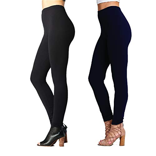 - Conceited Ultra Soft High Waisted Leggings for Women - Opaque Full Ankle Length - 2-Pack Black-Navy - One Size (0-10)