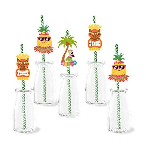 Amosfun 72Pcs Hawaiian Paper Straws Drinking Straws Luau Themed Party Summer Beach Pool Bar Club Birthday Wedding Party Decorations - Hawaiian Club Papers