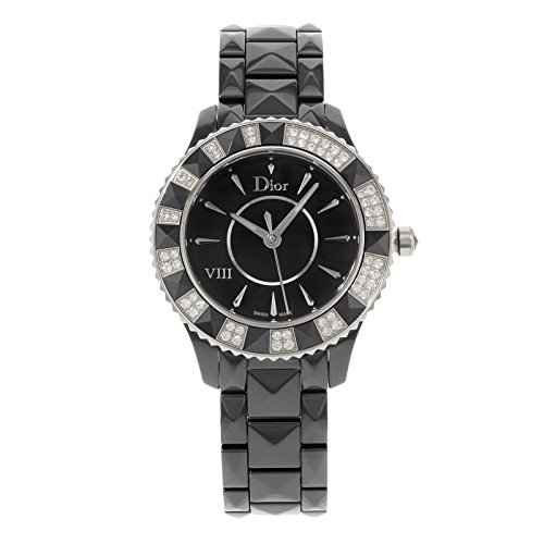 Christian Dior Women's CD1231E1C001 Black Eight Analog Display Swiss Quartz Black Watch