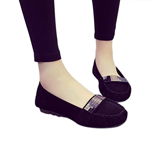 Women's Round Toe Square Heel Korean Casual Shoes with Buckle Black - 1