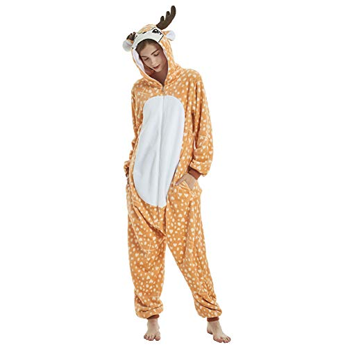 Yimidear Adult Animal Pajamas Costume Deer Onesies Flannel One Piece Cosplay Costume Halloween (XL)