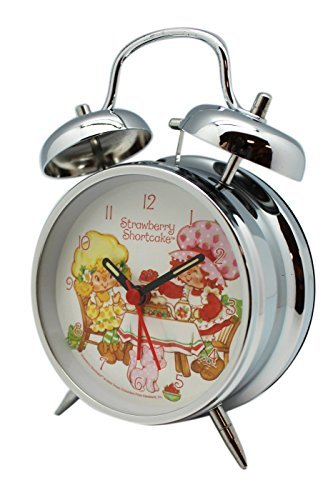 Silver Strawberry Shortcake and Lemon Meringue Retro Style Desk Alarm Clock