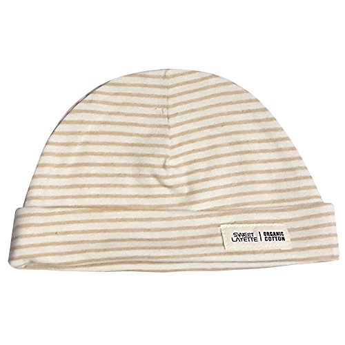 Sweet Layette Newborn Unisex Beanie Hat - Organic Cotton Beanie, Cap (Stripe Style) (Stripe Knit Layette)