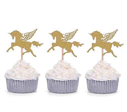 event Parties Favors for Kids /& Adults Cupcake Accessory Decoration Supplies Birthday Astra Gourmet Set of 24 Gold Glitter Unicorn Cupcake Toppers Party Picks