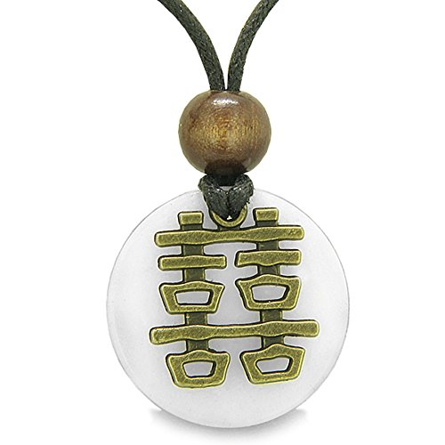- Double Happiness Feng Shui Amulet Fortune Powers White Snowflake Quartz Coin Medallion Pendant Necklace