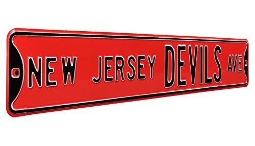 "Authentic Street Signs 28115 NHL New Jersey Devils Ave, Heavy Duty, Metal Street Sign Wall Decor, 36"" x 6"", Team Color from Authentic Street Signs"