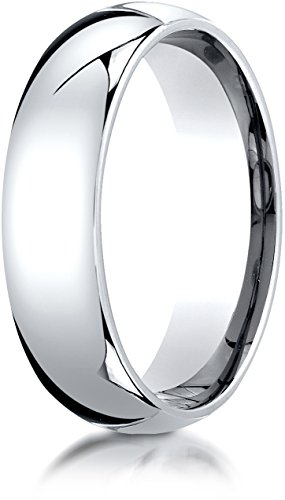 Benchmark Platinum 6mm Slightly Domed Super Light Comfort-Fit Wedding Band Ring, Size (Lifetime Platinum Rings)