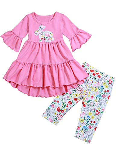 Toddler Girl Clothes Easter Day Bunny Embroided Wave Skirt with Rabbit Floral Print Pant Little Girls Outfits Sets 5-6 T -