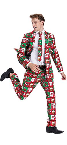 Christmas Suit (YOU LOOK UGLY TODAY Mens Bachelor Party Suit Funny Costume Novelty Xmas Jacket with Tie COLORFUL CHRISTMAS SANTA-X Large)