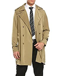 Coofandy Men's Double Breasted Buttons Jacket Overcoat Long Trench Coat With Belt