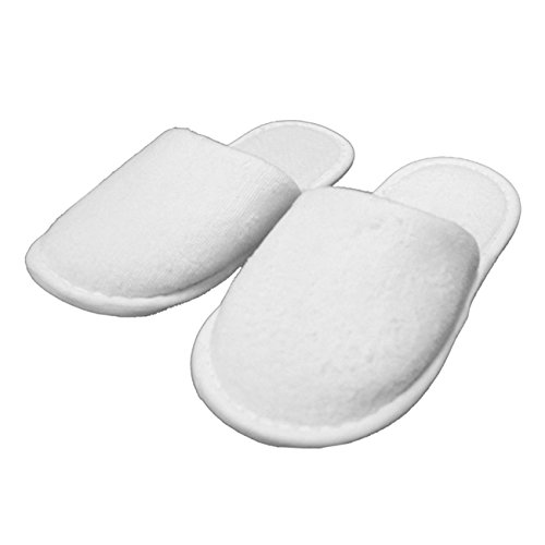 Kid's Closed Toe Slippers Cotton Terry Velour Slippers Cloth Spa Hotel Girls and Boys Slippers Wholesale 100 Pcs (One Size, White) by TowelRobes