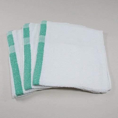 24 new white blue center stripe bath pool towels hotel motel 22x44 absorbent