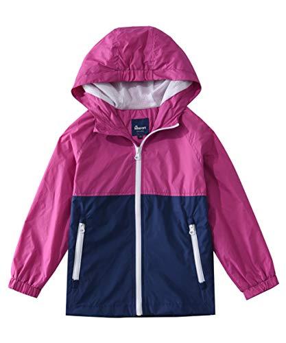Little Girls Spring Jackets - Hiheart Girls Summer Lightweight Hooded Jackets Spring Outdoor Windbreaker Rosy Navy 5/6