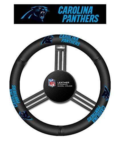 Fremont Die NFL Carolina Panthers No Leather Steering Wheel Coverleather Steering Wheel Cover, Black, One ()