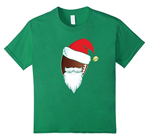 Kids Cute Football Ball Santa Hat Christmas T-Shirt Xmas Gift 8 Kelly Green