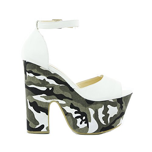 Size Ladies Out Heel Shoe White Peeptoe 3 5 Strappy 7 High 4 Cut 6 Womens Platform Sandals 8 Wedge ErrPq