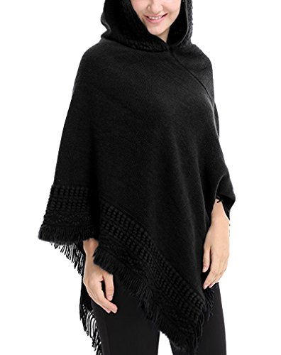 Price comparison product image AIYUE® Women Tassels Knit Hooded Poncho Capes Cloak Shawl Loose Irregular Pullover Sweater Onesize Black