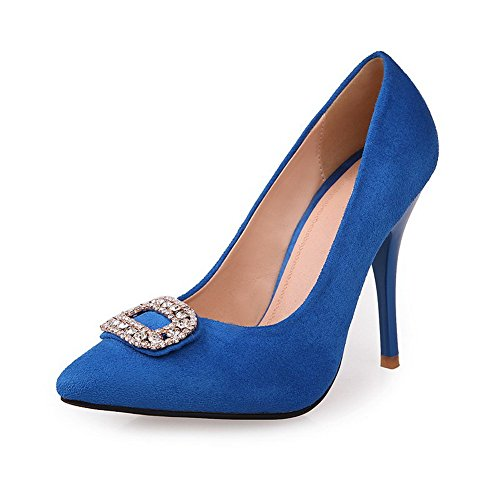 Spitze Closed Solid Vouge001 Zehenspitze PU Spikes High Frosted Stilettos Pumps Blau Heel Strass mit Toe Womans qx11CtwB