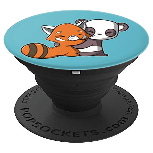 Red Panda Hugging Panda Kawaii Cute - PopSockets Grip and Stand for Phones and Tablets
