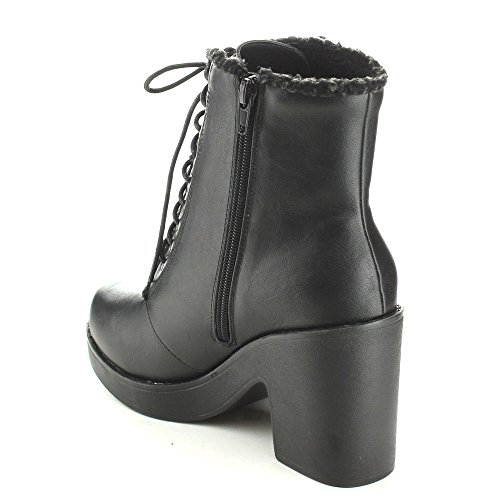 C-label Mercy-1 Mujeres Lace Up Forro De Piel Sintética Zip Lateral Chunky Heel Botín Warm Botaie, Color: Negro, Tamaño: 6