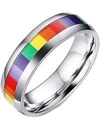 Unisex Stainless Steel Gay Lesbian LGBT Pride Ring Rainbow Wedding Band, Men or Women