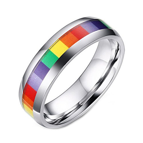 LineAve+Unisex+Stainless+Steel+Gay+Lesbian+LGBT+Pride+Ring+Rainbow+Wedding+Band%2C+Size+9%2C+1z5016s09