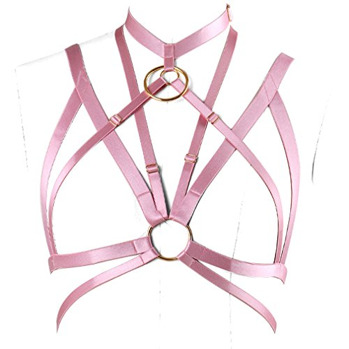 Gothic Body Harness Bra Strap Tops Cage Lingerie Pink for Women Harness Belt (Rubber red O0590) -