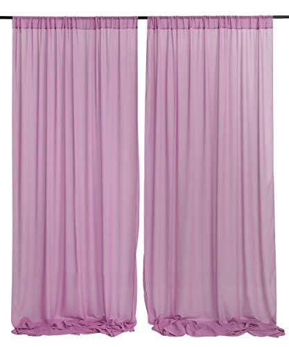 Chiffon Wedding Backdrop Curtain Drape Mauve Elegant Wedding Arch Decoration 9.8ftx10ft Sheer Background for Party Event