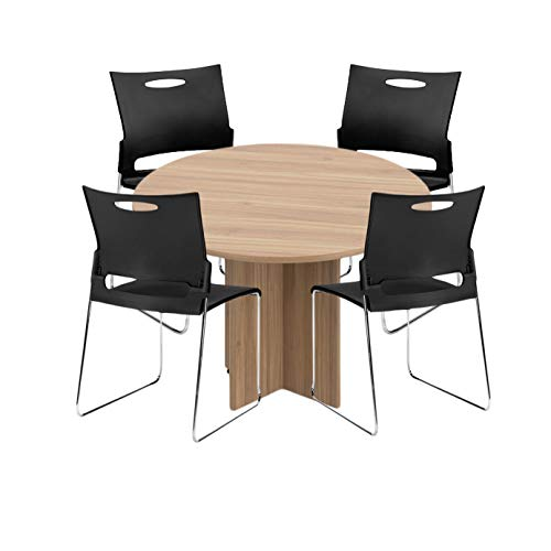 GOF 48'' Round Table (48W x 48D x 29.5H), Cherry, Espresso, Mahogany, Walnut (Walnut 5-Piece Table Set) by GOF (Image #1)