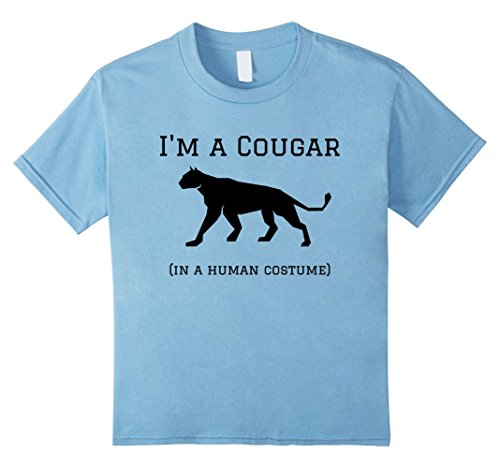 Cougar Costume (Kids I'm a Cougar in a Human Costume Funny T-Shirt 6 Baby Blue)