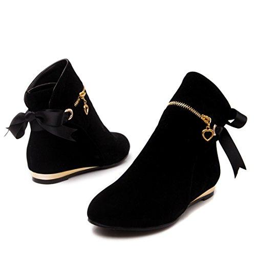 YE Damen Flache Ankle Boots Stiefeletten mit Schnürung und Schmuck Reißverschluss Bequem Modern Schuhe Schwarz
