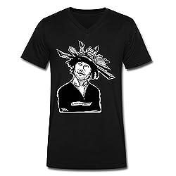 Qincent Mens V-neck 100% Cotton T-shirts Jamiroquai