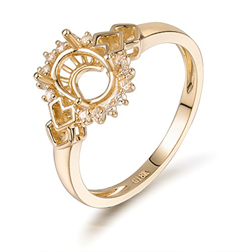 Lanmi Natural Diamond 14K Yellow Gold Women's Wedding Oval Cut 5x7mmmm Semi Mount Ring Set ()
