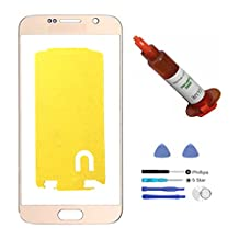 (md0410) Gold Front Outer Lens Glass Screen Replacement For Samsung Galaxy S6 SVI G920 + Adhesive + Tools + 5ml UV LOCA Liquid Glue (LCD and Digitizer not included)
