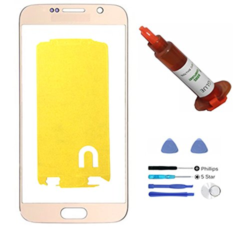 (md0410) Gold Front Outer Lens Glass Screen Replacement For Samsung Galaxy S6 SVI G920 + Adhesive + Tools + 5ml UV LOCA Liquid Glue (LCD and Digitizer not included) - Galaxy S4 Screen Replacement Gold