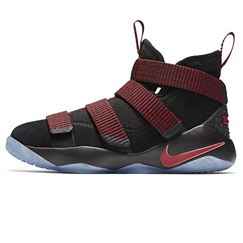 f28bf59f7c52 NIKE Boys  Lebron Soldier Xi Basketball Shoes Black Black-Team Red 6Y by