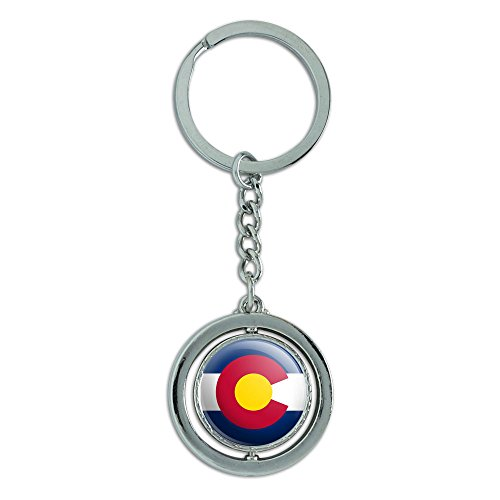 Graphics and More Colorado State Flag Spinning Round Metal Key Chain Keychain Ring