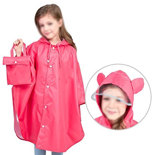 Rainnna Rain Suit Kids, Reusable Toddler Waterproof Rainsuit Rain Coat Coverall Rain Wear for Baby, Girl, Kid, Boy,Red,M