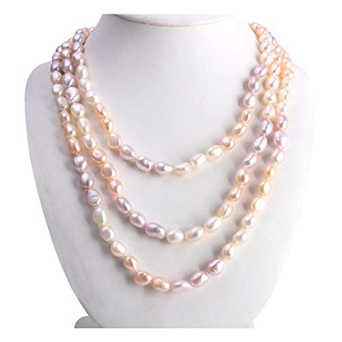 - Freshwater Cultured Pearl Necklace,Genuine White, Pink, Purple Pearls Strand Necklace for Women Pearl Jewelry in 48Inch,64Inch