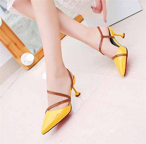 Zapatos Yellow Alto 38 Colorblock 35 Verano Tacón Huecas Bombas Aguja Sra De Mujer Sandalias Nvxie gxI6w1