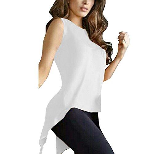 Stretch Blouse T Dbardeur Sans Femme Tops Printemps Uni Manche Lisli Tunique Loose Mode Blanc Et Casual Shirt Asymtrique xq6B8fAWwW
