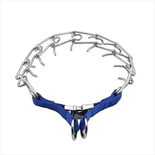 DEYACE Dog Prong Collar Training Metal Gear Pinch Collar for Dogs, Stainless Steel with Silver Plating, Easy-On Plated Adjustable Training Dog Collar for Large Dogs, Blue (XL)